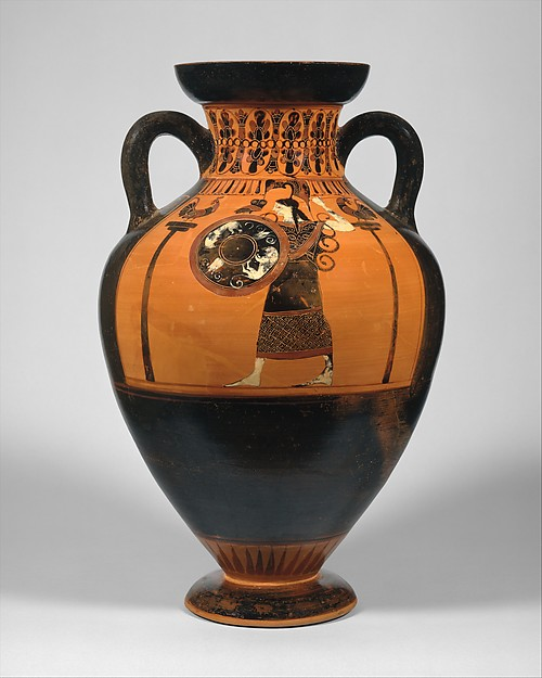 Terracotta neck-amphora of Panathenaic shape, Attributed to the Princeton Painter, Terracotta, Greek, Attic