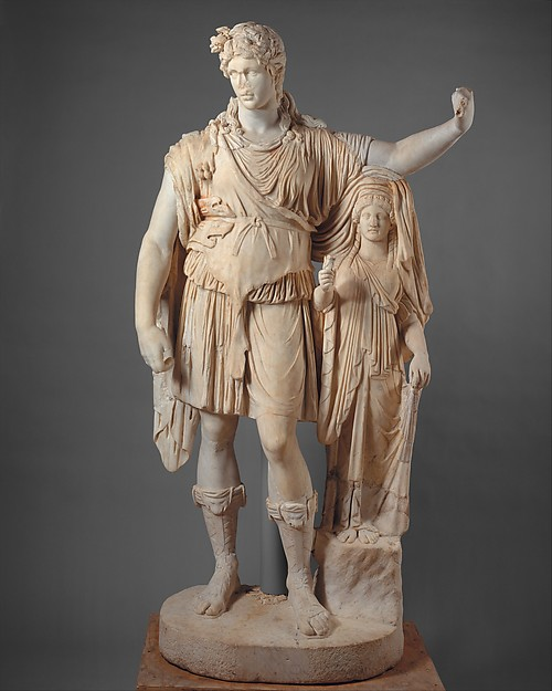 """Statue of Dionysos leaning on a female figure (""""Hope Dionysos""""), Restored by Pacetti, Vincenzo, Marble, Roman"""