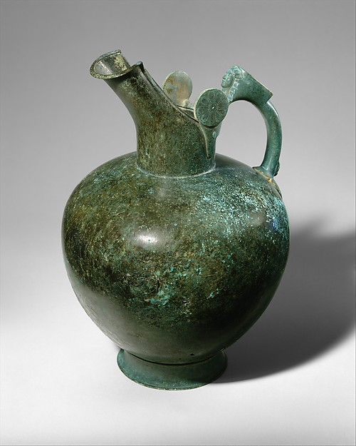 Bronze oinochoe, Bronze, Greek