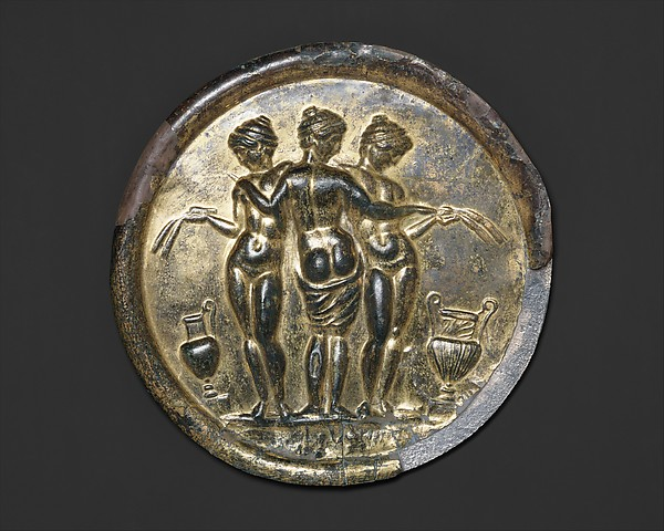 Gilded bronze mirror with the Three Graces, Bronze, silver, gold, speculum, Roman