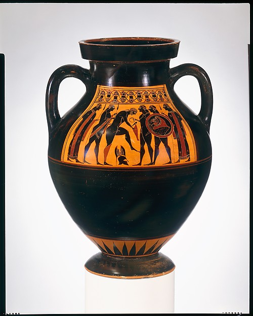 Terracotta amphora (jar), Attributed to the Amasis Painter, Terracotta, Greek, Attic