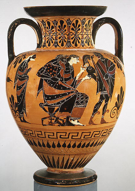 Terracotta neck-amphora (jar), Attributed to the manner of the Lysippides Painter, Terracotta, Greek, Attic
