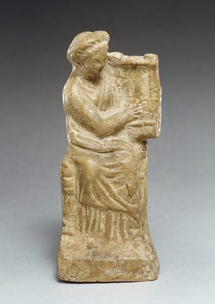 Terracotta statuette of a seated woman playing a kithera, Terracotta, Cypriot