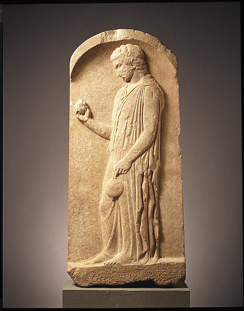 Marble stele (grave marker) of a young girl, Marble, Pentelic, Greek, Boeotian