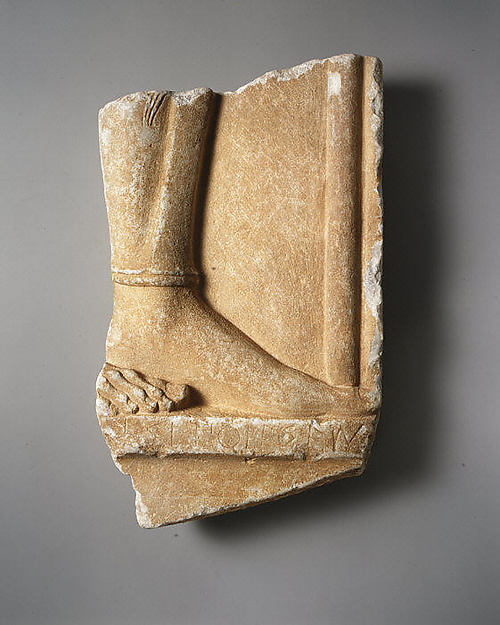 Fragmentary marble grave stele of a hoplite (foot soldier), Attributed to Aristokles, Marble, Greek, Attic