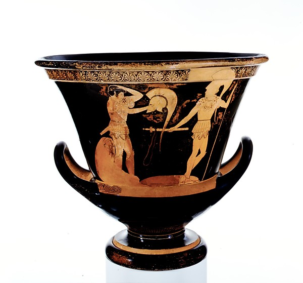 Terracotta calyx-krater (bowl for mixing wine and water), Attributed to the Kleophrades Painter, Terracotta, Greek, Attic