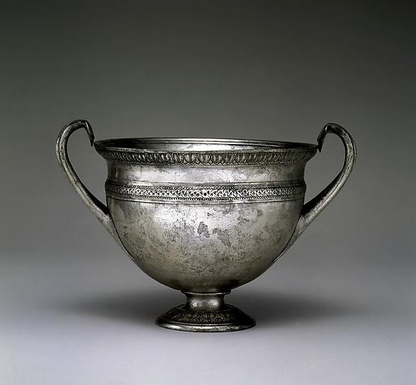 Silver skyphos (drinking cup), Silver, Roman