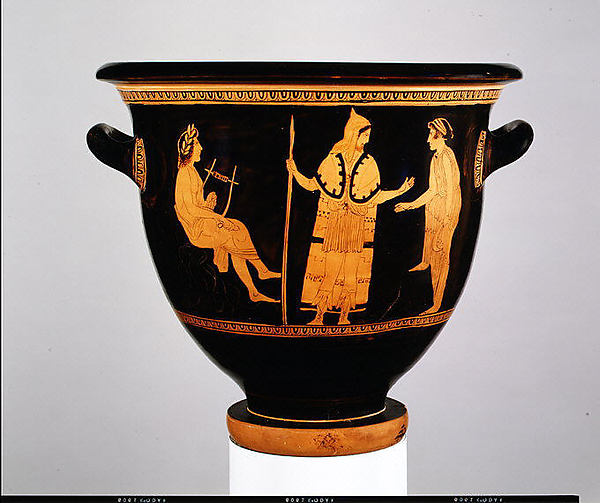 Terracotta bell-krater (bowl for mixing wine and water), Attributed to the Painter of London E 497, Terracotta, Greek, Attic