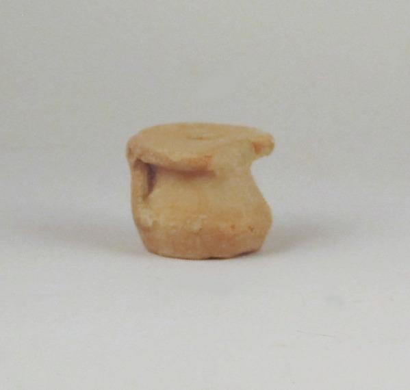 Fragment of a miniature vase, Terracotta, Greek, Laconian