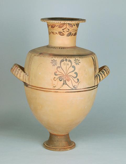Terracotta Hadra hydria (water jar), Terracotta, Greek, Egypt, Alexandria-Hadra