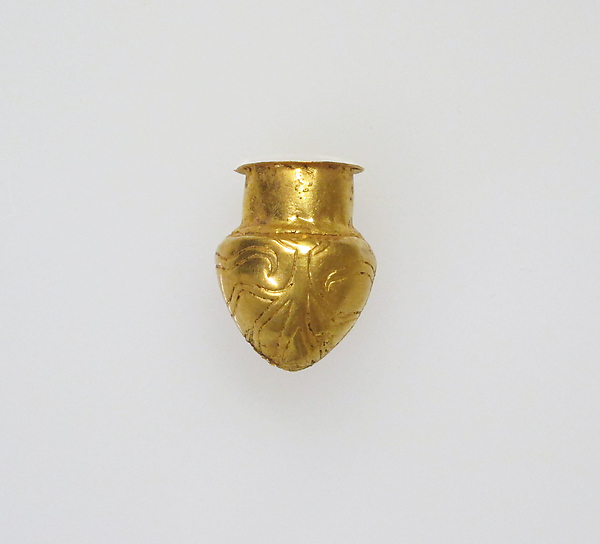 Rattle in the form of a vessel, Gold, Greek