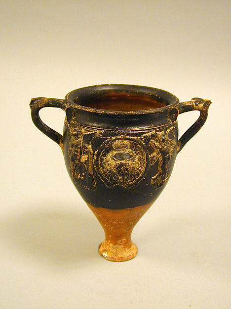 Terracotta cup with appliqués, Terracotta, Greek, Pergamene