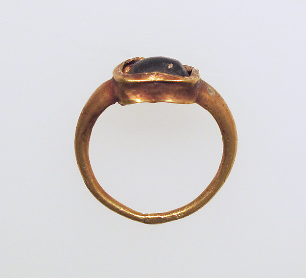 Ring with glass bezel, Gold, glass, Roman