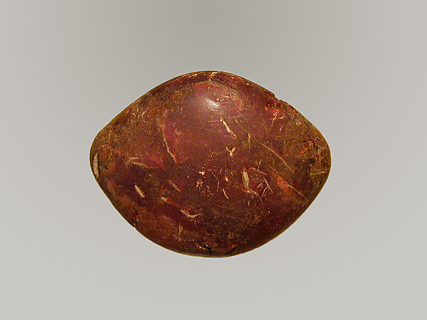 Amber from bow of a bronze fibula (safety pin), Amber, Probably Etruscan