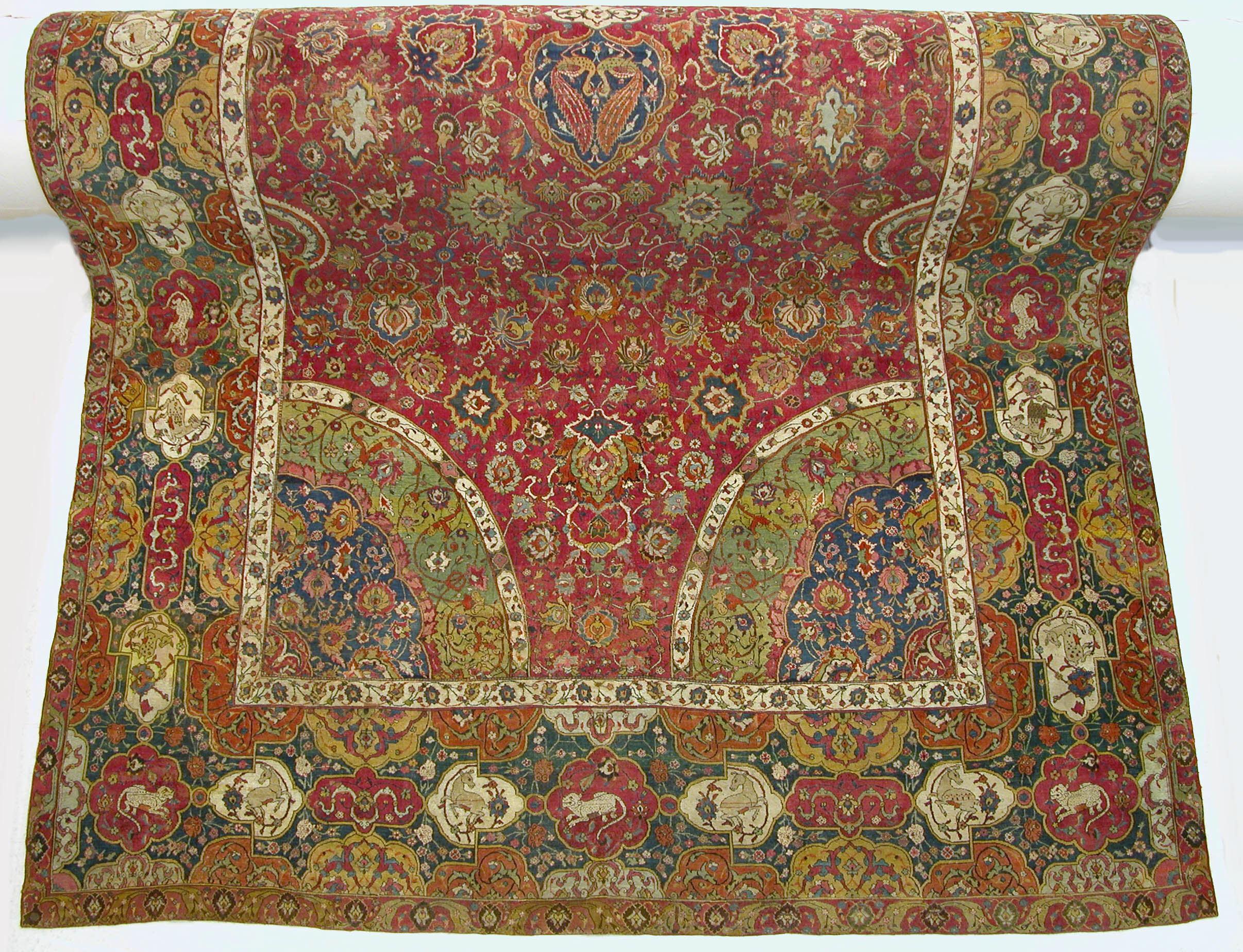 Islamic art: Seley Carpet, late 16th century, silk, cotton, wool, The Metropolitan Museum of Art, New York, NY, USA.