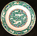 Dish with Bird, Rabbit and Quadruped Design, Stonepaste; polychrome painted under transparent glaze