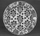 Dish with Pattern of Flowering Plants, Stonepaste; polychrome painted under transparent glaze