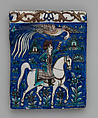 Tile with an Image of a Prince on Horseback, Stonepaste; molded, polychrome painted under transparent glaze
