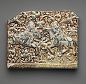 Frieze Tile with Two Hunters, Stonepaste; molded, inglaze painted in blue and turquoise, luster-painted on opaque white glaze