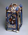 Ceramic Lantern, Stonepaste; underglaze painted in blue, luster-painted on transparent glaze
