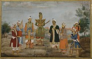 Eight Men in Indian and Burmese Costume, circle of Ghulam 'Ali Khan, Main support: Ink, opaque watercolor, and gold on paperMargins: Gold on dyed paper