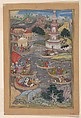 """Alexander Fights a Sea Battle"", Folio from a Khamsa (Quintet) of Amir Khusrau Dihlavi, Amir Khusrau Dihlavi (1253–1325), Main support: Ink, opaque watercolor, gold on paper Margins: Gold on dyed paper"