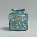 Small Jar, Glass, greenish-blue; mold blown