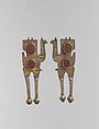 Boy's Amulet in the Shape of Camels, Silver; fire gilded, with punching, chains, synthetic beads, and table cut carnelians