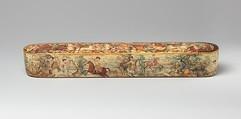 Pen Box (Qalamdan) Depicting Shah Isma'il in a Battle against the Uzbeks, Papier-maché; painted and lacquered