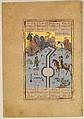 """Farhad Carves a Milk Channel for Shirin"", Folio 74 from a Khamsa (Quintet) of Nizami, Nizami (Ilyas Abu Muhammad Nizam al-Din of Ganja) (probably 1141–1217), Ink, opaque watercolor, and gold on paper"