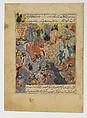 """Battle Scene"", Folio from a Zafarnama (Book of Victories) of Sharaf al-Din 'Ali Yazdi, Sharaf al-din 'Ali Yazdi (1424–54), Ink, watercolor, and gold on paper"