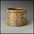 Inkwell with Twelve Zodiac Medallions, Brass; cast, inlaid with silver and copper