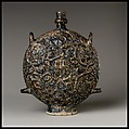 Flask with Zodiac Medallions, Stonepaste; molded, blue-glazed, overpainted, and gilded