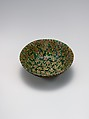 Glass Bowl in Millefiori Technique, Glass, green, opaque yellow, and opaque red mosaic; fused, slumped, ground, and polished, applied foot