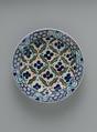 Dish with 'Cintamani' and Tiger-stripe Pattern, Stonepaste; polychrome painted under transparent glaze