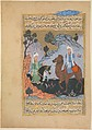 """""""The Angel Gabriel meets 'Amr ibn Zaid (the Shepherd)"""", Folio from a Siyer-i Nebi (the Life of the Prophet), Painting by Mustafa ibn Vali, Ink, opaque watercolor, and gold on paper"""