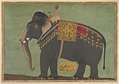 Portrait of the Elephant  'Alam Guman, Painting attributed to Bichitr (active ca. 1610–60), Opaque watercolor and gold on paper