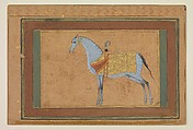 A Stallion, Painting by Habiballah of Sava (active ca. 1590–1610), Ink, opaque watercolor, and gold on paper