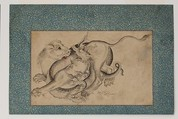 Lion and Dragon in Combat, Painting by Muhammad Baqir (Iranian, active 1735–90), Ink and watercolor on paper