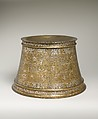 Candlestick with Enthronement Scene, Brass; engraved, incised, inlaid with silver