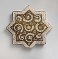 Star-Shaped Tile, Stonepaste; luster-painted on opaque white glaze