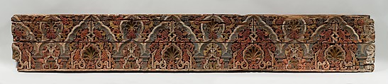 Panel with Cusped Arches, Wood (cedar); carved and painted