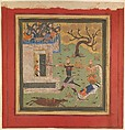 """""""Bizhan Forces Farud to Retreat into his Fort"""", Folio from a Shahnama (Book of Kings), Abu'l Qasim Firdausi (935–1020), Ink, opaque watercolor, and gold on paper"""