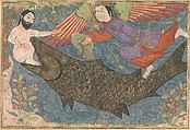 """""""Jonah and the Whale"""", Folio from a Jami al-Tavarikh (Compendium of Chronicles), Ink, opaque watercolor, gold, and silver on paper"""