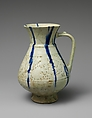 White Ewer with Blue Streaks, Stonepaste; molded, carved and pierced, painted under transparent glaze