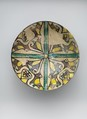 Buff Ware Bowl with Geometric Patterns, Earthenware; polychrome decoration under transparent glaze (buff ware)