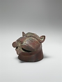 Incense Burner in the Shape of a Lion's Head, Bronze; cast, engraved, and pierced