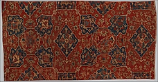 Fragment of a Carpet with Quatrefoil Design, Wool (warp, weft, and pile); symmetrically knotted pile