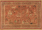 Kalamkari Rumal, Cotton; plain weave, mordant painted and dyed, resist dyed
