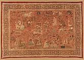 Kalamkari Rumal, Cotton; plain weave, mordant painted and dyed, resist dyed
